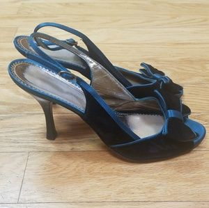 BCBG Max Azria Teal velvet and satin Slingback